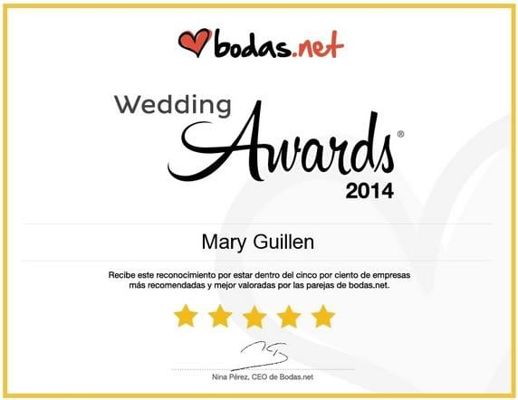 Mary Guillén recibe el premio Wedding Awards 2014